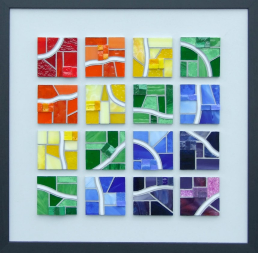 """4 x 4"" - 49cm x 49cm.  Stained & iridescent glass & smalti."