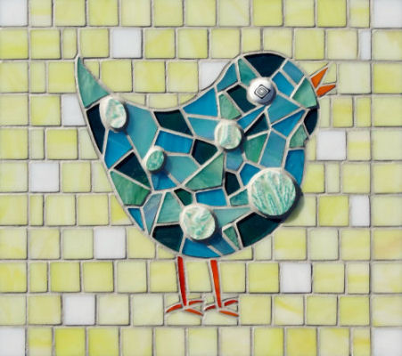 """Aqua Chick"" - 25cm x 25cm approx.  Stained glass & ceramic tile."