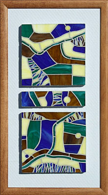 """Below the Edge"" - 29cm x 49.5cm.  Stained Glass."