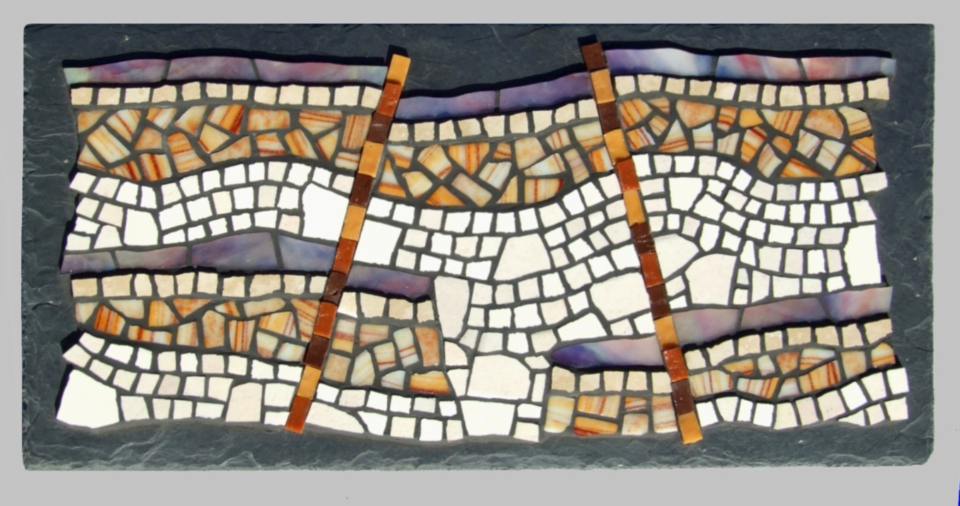 """Land Slip"" - 50cm x 25cm.  Ceramic Tile, Stained Glass & Smalti on slate."