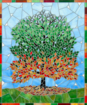 """Season's Tree"" 51cm x 61cm. Stained Glass."