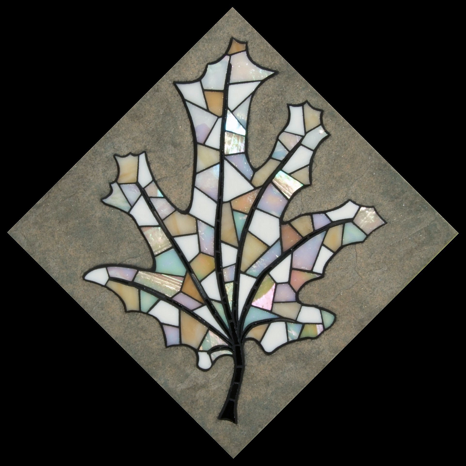 """Winter Maple"" 30cm x 30cm.  Iridescent & Stained glass on ceramic tile.  Hangs as diamond. (Fixings can be altered to hang square)."