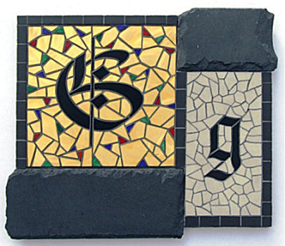 """G is for..."" - 32cm x 28cm.  Slate, Gold Mirror, Ceramic tile & Stained Glass."