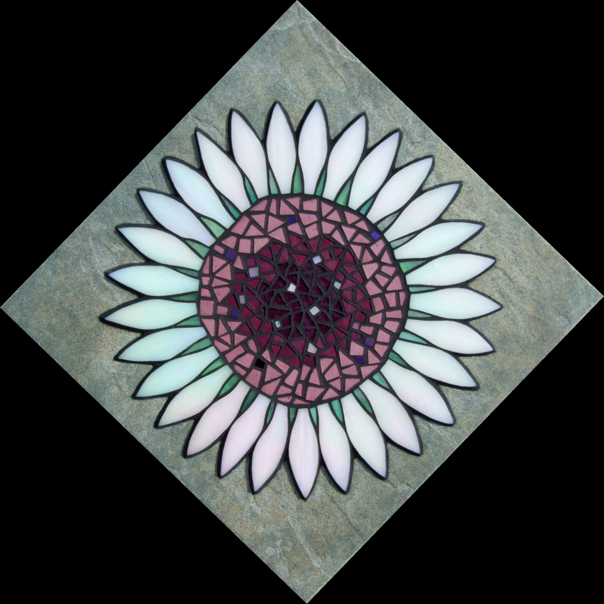 """Moonflower"" 30cm x 30cm.  Iridescent & stained glass on ceramic tile.  Hangs as diamond. (Fixings can be altered to hang square)"